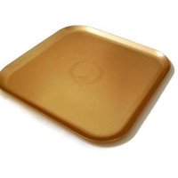 Mid Century Kensington Mid Century Design Aluminum Tray with Wheat Design