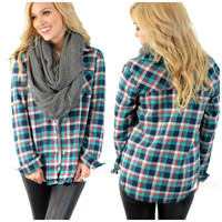 Plaid To The Bone Green Flannel Top