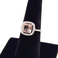 Cushion Cut Ring | Morganite Ring | Rose Gold Ring | Engagement Ring | CZ Diamond | Halo Ring | Pave Ring