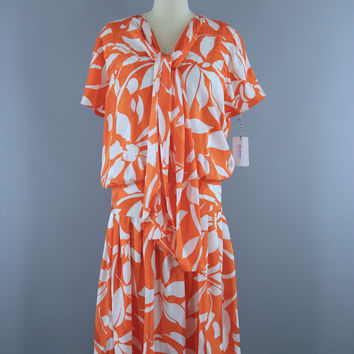 Vintage 1980s Dress / Drop Waist 20s Style / Orange & White