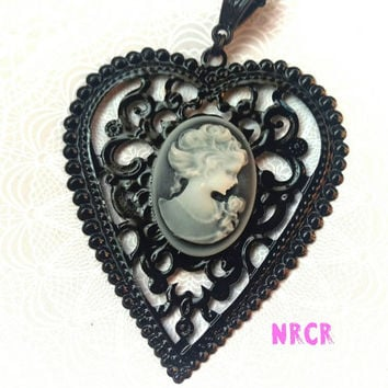 Cameo:Lady With a Rose ~ Silhouette  Portrait~ Original design~ One of a kind. Customized for you!