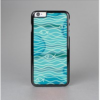 The Blue Abstarct Cells with Fish Water Illustration Skin-Sert Case for the Apple iPhone 6