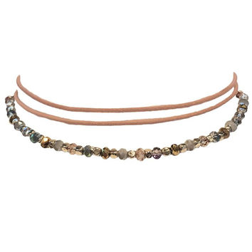 Natural Territory Bead Wrap Choker