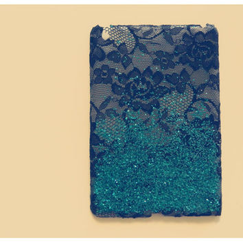 iPad Mini Ombre Lace Case in black n teal glitz