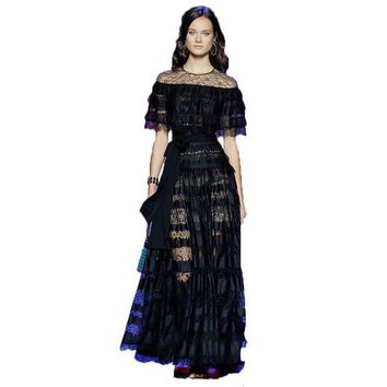 DCCKHY9 HIGH QUALITY New Fashion 2016 Runway Maxi Dress Women's Batwing Sleeve Black Lace Party Long Dress Plus size S-XXL