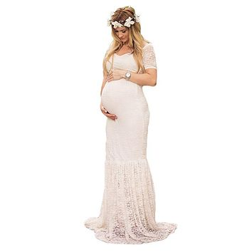 VOGUEON Women Lace Maxi Long Dress Summer Maternity Dress for Photo Shoot Lady Maternity Beach Clothing V Neck Evening Ball Gown