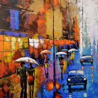 Blue taxi 2 - OIL PALETTE KNIFE Painting on canvas by Dmitry Spiros. 40x28 in. (100 x 70 cm)
