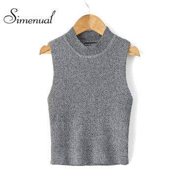 2016 Fashion new fitness women sweaters and pullovers turtleneck sleeveless slim knitted short vest pullover ladies jumpers sale