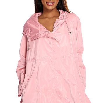 Dusty Pink Zip Up Hoodie Windbreaker Jacket