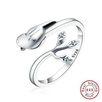 925 Sterling Silver Adjustable Ring for Women Ladies Retro Vintage Animal Bird leaves Fine personality Jewelry