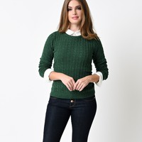 Forest Green Long Sleeve Cable Knit Sweater