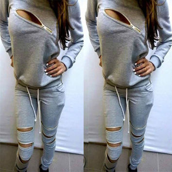Zipper Cutout Sports Hoodies Set Activewear