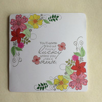 Good Luck Card, Flower Handmade Card, Special Occasion Card, Thinking Of You Card