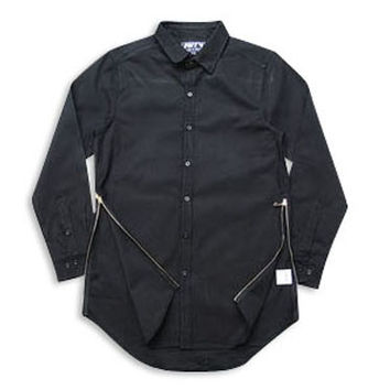 Streetwear Dress Shirt with High Side Zippers