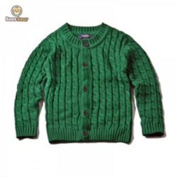 Solid Color Single-Breasted Knitted Cardigan