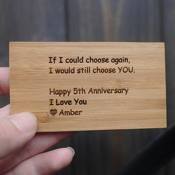 Valentine Wood Wallet Card , Engraved Wallet card , Personalized Wallet Card , Anniversary Gift , Valentine's Day , Wedding Gift