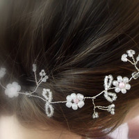Wedding Hair Vine- Pearls Silver Tiara beads headband crown flower bridal prom 10 inches can customise in your colours.