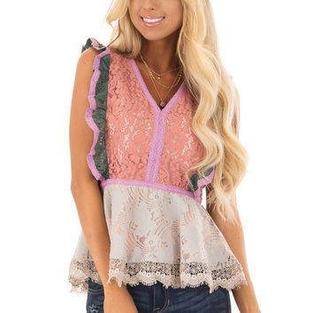 Dusty Coral Floral Lace Babydoll Top with Contrast