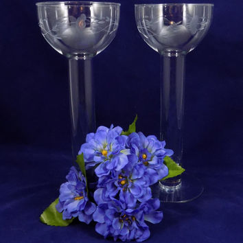 Princess House Crystal Candle Holders or Bud Vases, Tall Goblet Style Crystal Candle Holders