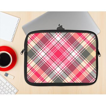 The Pink & Tan Plaid Layered Pattern V5 Ink-Fuzed NeoPrene MacBook Laptop Sleeve