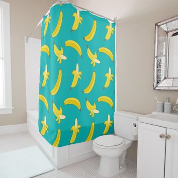 Funny Gone Bananas illustrated pattern Shower Curtain