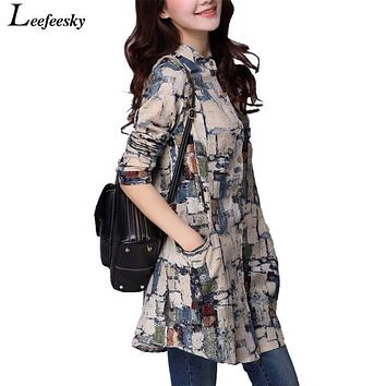Women Shirts 2017 Autumn Linen Women Tops Long Sleeve Shirt Women Tribal Print Blouses Blusas Long Tunic Tops Female Clothing