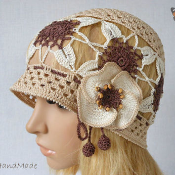 OOAK Irish Lace Crochet Women Ladies Vintage Style Romantic Victorian Wedding Cloche Beanie Bandana Hat Brown Pastel Spring Summer