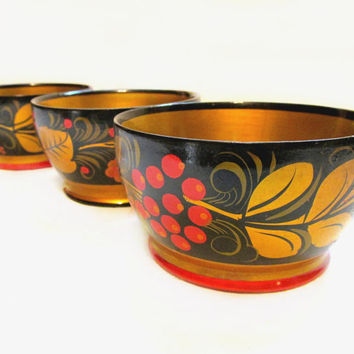 Vintage Toleware Wood Bowl Lot, Lacquer Tole Painted, Set of 3