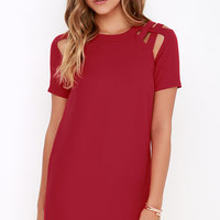 Shoulder Shrug Wine Red Shift Dress