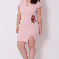 Plus Size Floral Embroidered Dress - Pink