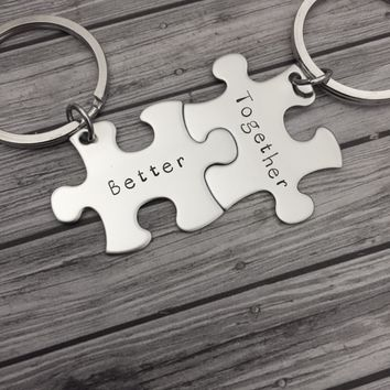 Better together keychains, couples keychains, boyfriend gift, Anniversary Gift