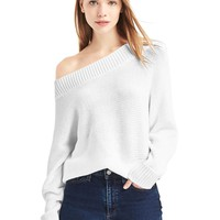 Relaxed open-neck sweater | Gap