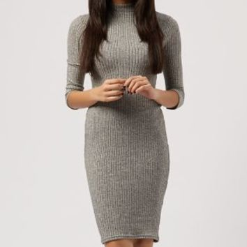 Grey Ribbed High Neck 3/4 Sleeve Midi Dress