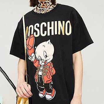 MOSCHINO Fashion Women Men Loose Embroidery Print T-Shirt Top Blouse