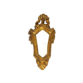 Gold Gilt Mirror Ornate Vintage Wood Composite Wall Hanging Decor Baroque Gothic Rococo Distressed Made in Italy