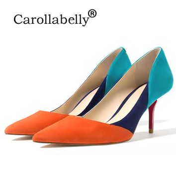 New Mix Color High Heels Orange Blue Grey Nude Pointed Toe Pumps Cut-Outs Woman Shoes Rose Red Heel 7cm For Fashion Female