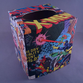 X-Men superhero comic book decoupage tissue box cover
