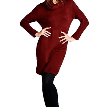 Elise Turtleneck Midi Sweater Dress - Burgundy