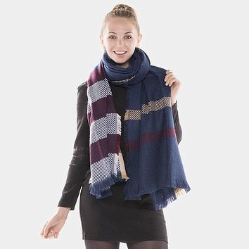 Long Plaid Check Blanket Scarf