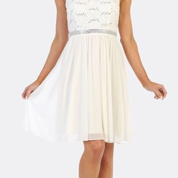 White Sleeveless Short Party Lace Dress A-line