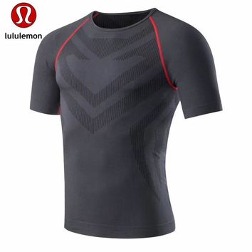 """""""lululemon""""Men's casual air solid all-match quick dry short sleeved T-shirt"""