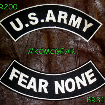 Military Patch Set U.S. Army Fear None Embroidered Patches Sew on Patches for Jackets