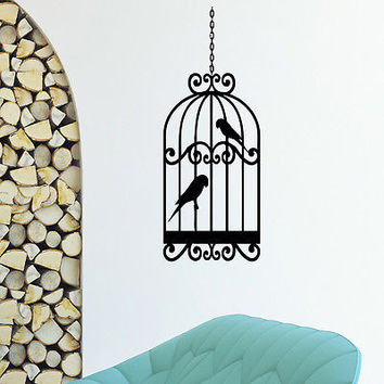 WALL DECAL VINYL STICKER ANIMAL BIRD CAGE BIRDCAGE DECOR SB568