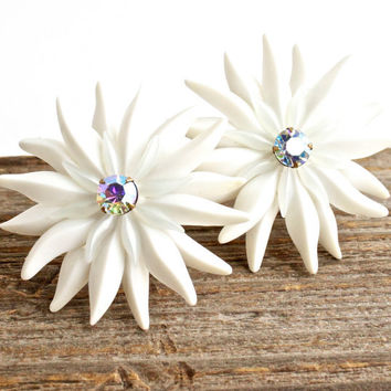 Vintage Large White Flower Clip On Earrings -  Aurora Borealis Prong Set Glass Stone Costume Jewelry / Daisy Whites