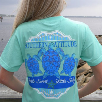 Country Life Outfitters Southern Attitude Mint 3 Turtles Starfish Vintage Girlie Bright T Shirt
