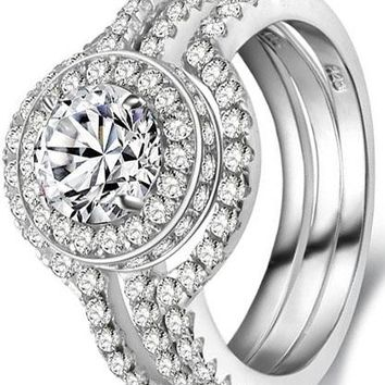 5CT Triple Round White CZ 925 Solid Sterling Silver Engagement Wedding Band Ring Sets
