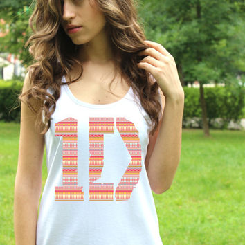 One Direction Clothing Logo 5 Aztec Tee 1D Shirt Pop Rock Women Clothing White Harry Style Lady Tank Tops Lady Fit Crop Top Clothing