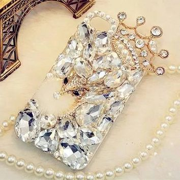 iPhone Bling Rhinestone Crystal Diamond Fox and Crown Soft Back Phone Case Cover For iPhone X 7 8 Plus 6 6s Plus 5 5S SE 5C