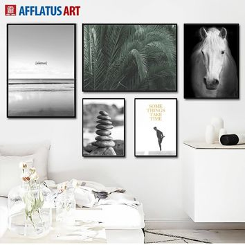 Sea Beach Horse Palm Leafs Landscape Wall Art Canvas Painting Nordic Posters And Prints Wall Pictures For Living Room Wall Decor