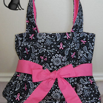 Breast Cancer Awareness BeltedTie Handbag by KraftyKreations4You